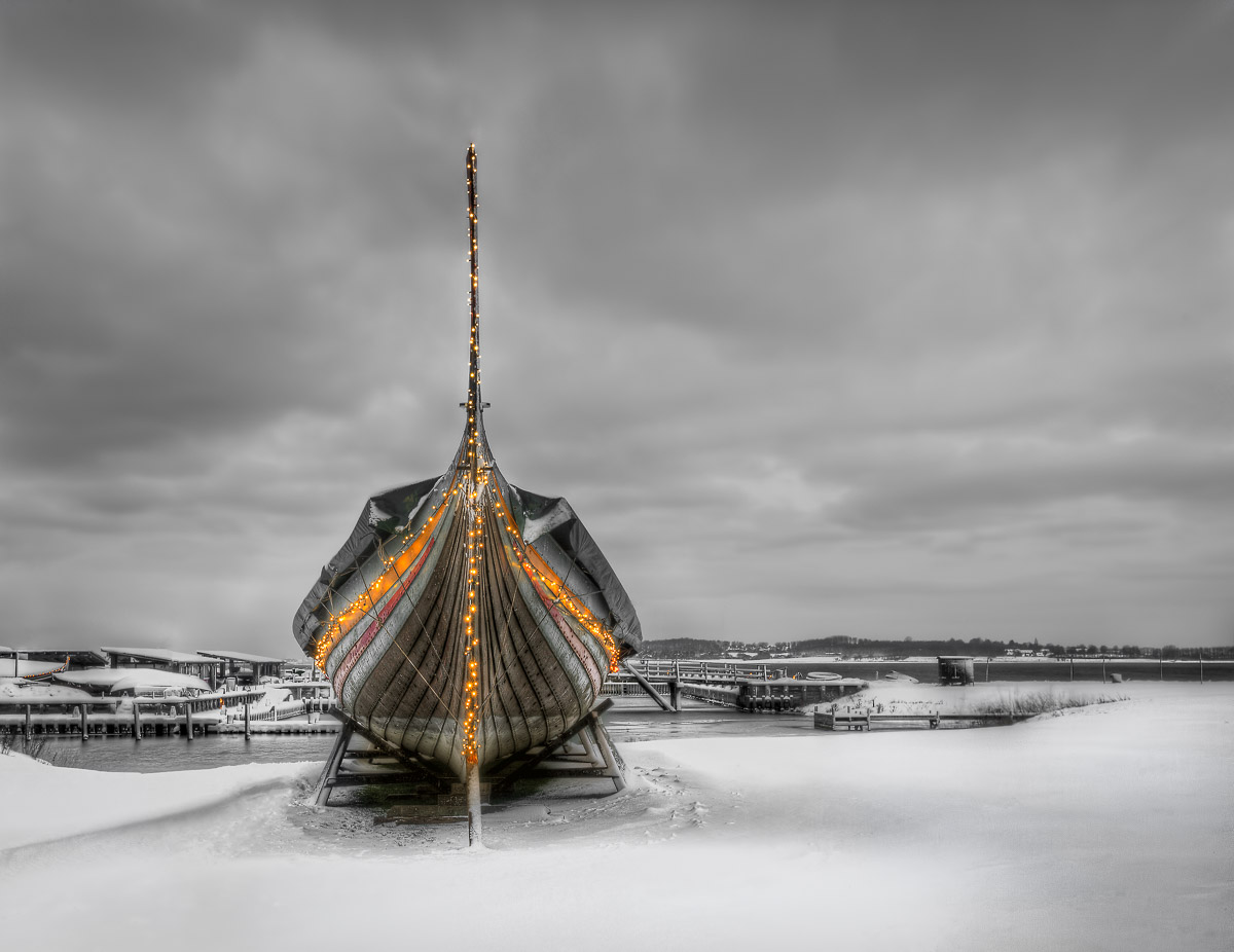 Viking ship on a Winter's Morning by Jacob Surland